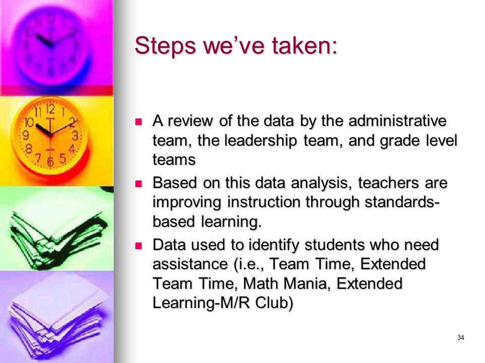 34 Steps weve taken: A review of the data by the administrative team, the leadership team, and grade level teams A review of the data by the administr