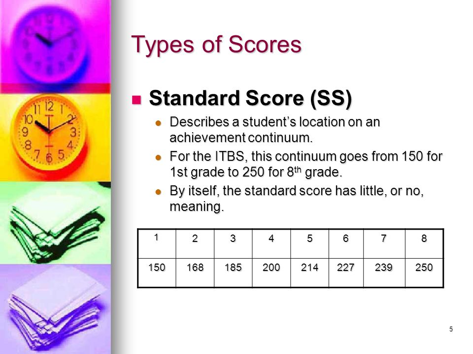 5 Types of Scores Standard Score (SS) Standard Score (SS) Describes a students location on an achievement continuum. Describes a students location on