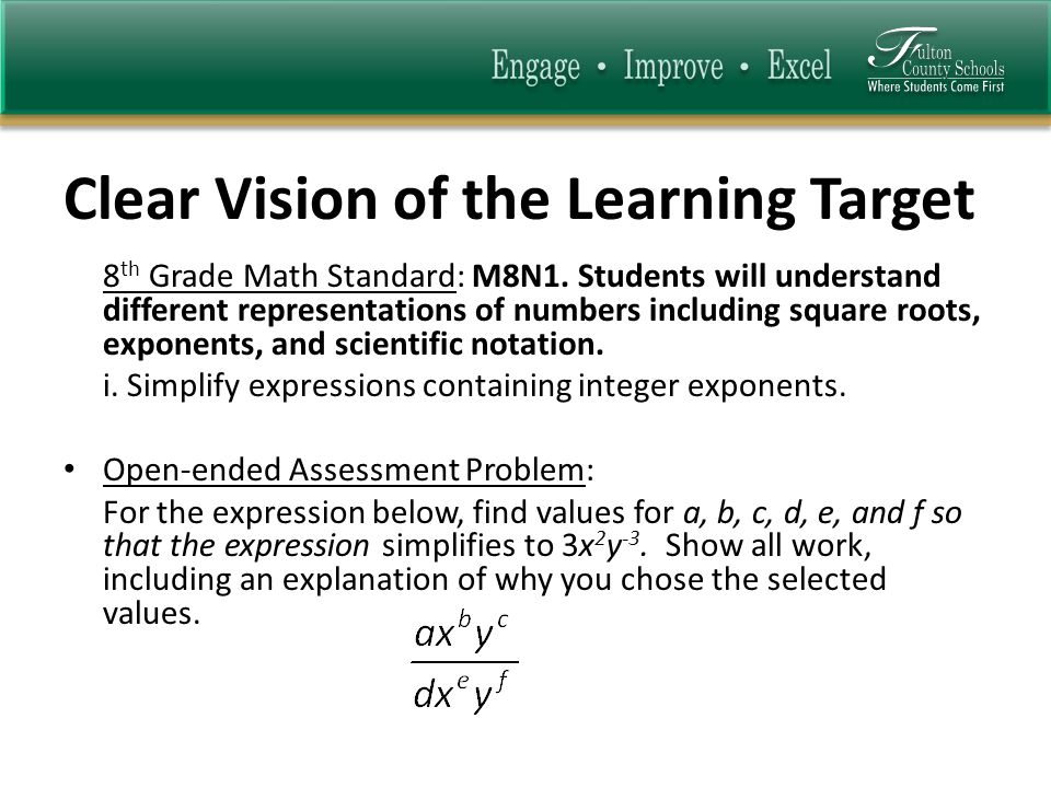 Clear Vision of the Learning Target 8 th Grade Math Standard: M8N1.