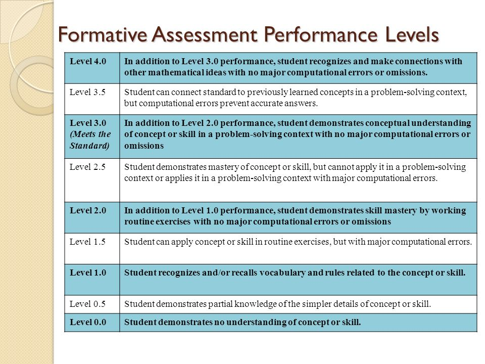 Formative Assessment Performance Levels Level 4.0In addition to Level 3.0 performance, student recognizes and make connections with other mathematical ideas with no major computational errors or omissions.