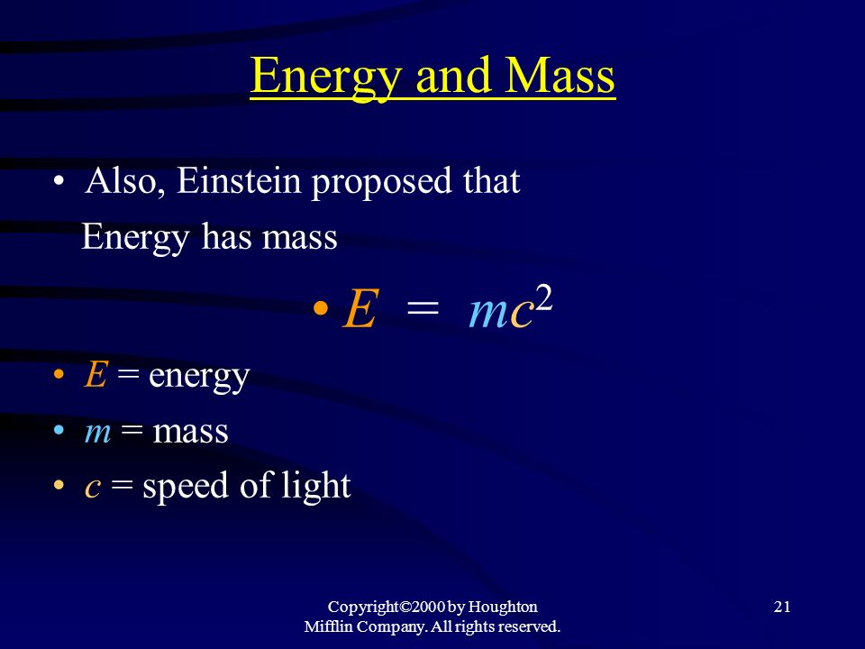 Copyright©2000 by Houghton Mifflin Company. All rights reserved. 21 Energy and Mass Also, Einstein proposed that Energy has mass E = mc 2 E = energy m