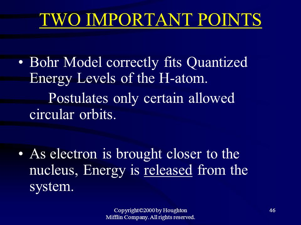 Copyright©2000 by Houghton Mifflin Company. All rights reserved. 46 TWO IMPORTANT POINTS Bohr Model correctly fits Quantized Energy Levels of the H-at
