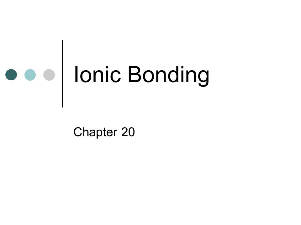 Ionic Bonding Chapter 20