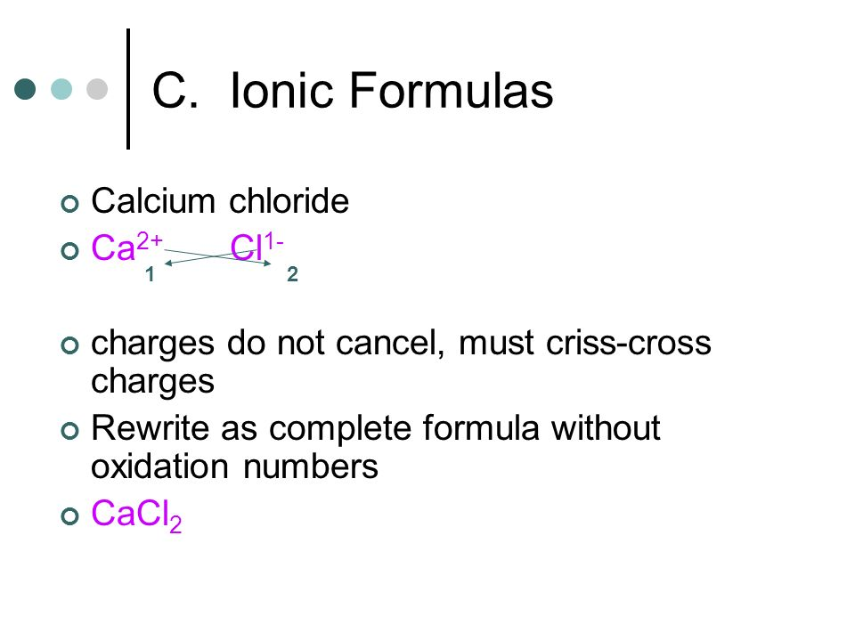 Calcium chloride Ca 2+ Cl 1- charges do not cancel, must criss-cross charges Rewrite as complete formula without oxidation numbers CaCl 2 21