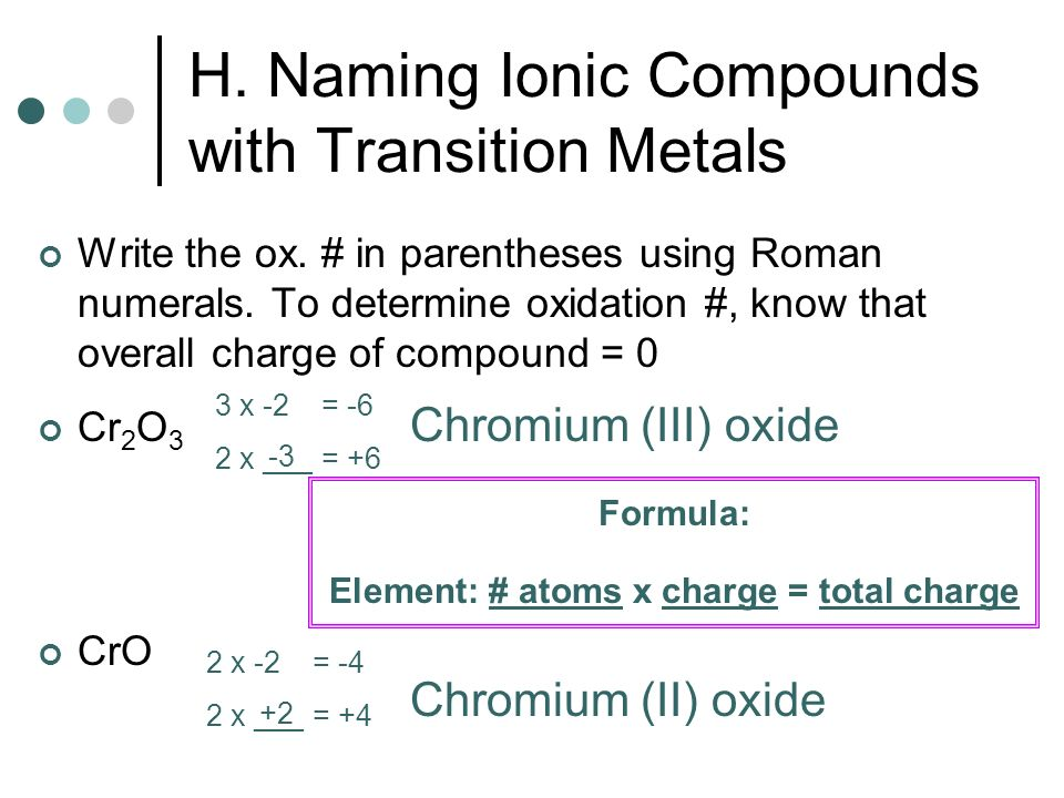 H. Naming Ionic Compounds with Transition Metals Write the ox. # in parentheses using Roman numerals. To determine oxidation #, know that overall char