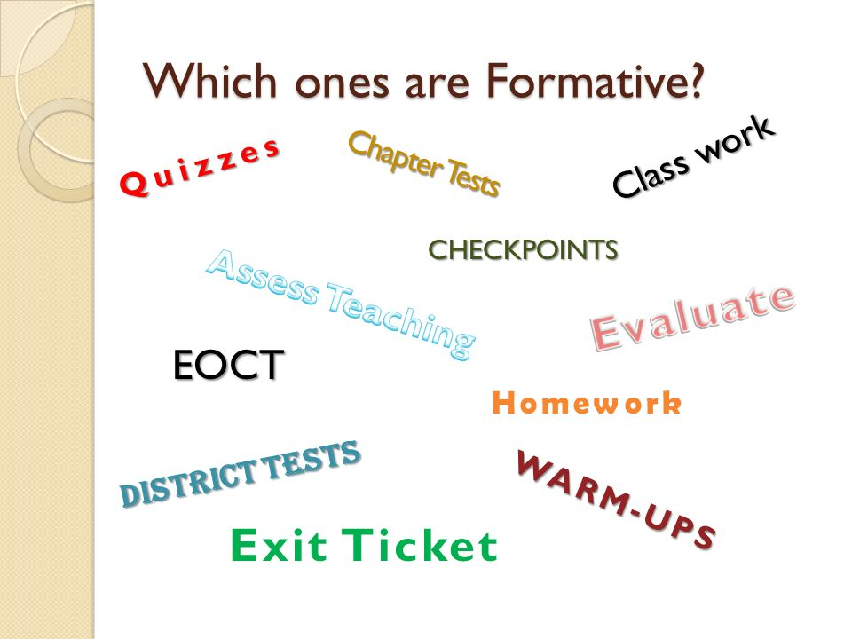 Which ones are Formative? Quizzes Chapter Tests EOCT District Tests Class work Homework WARM-UPS Exit Ticket CHECKPOINTS