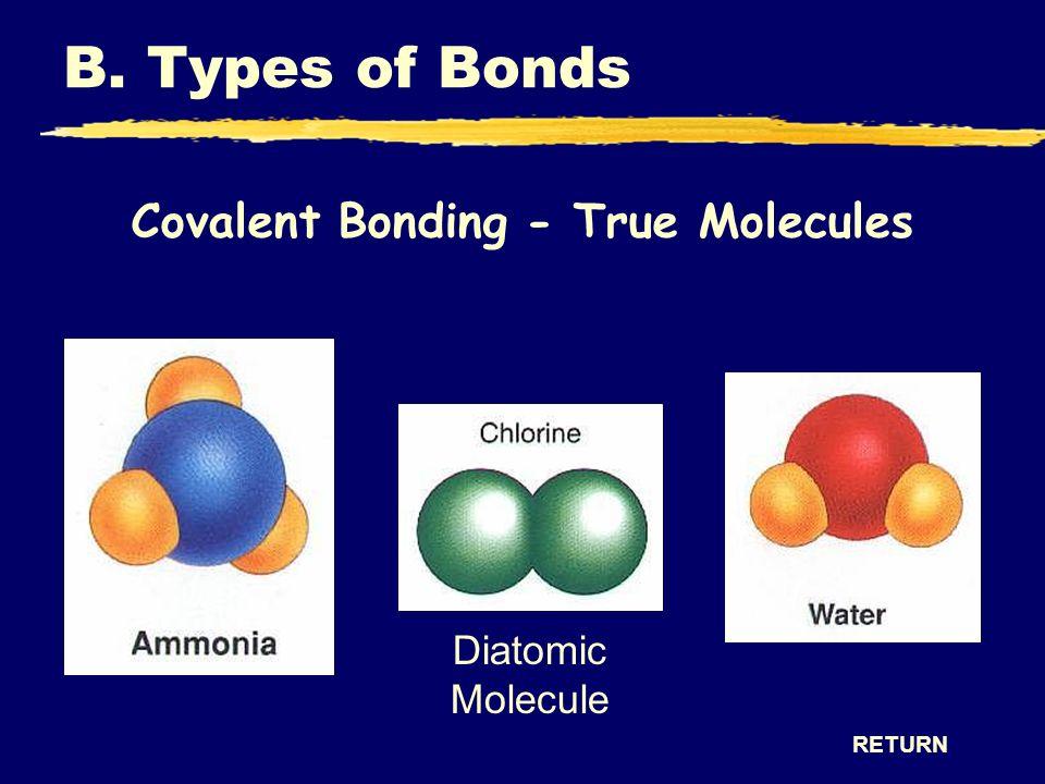 Covalent Bonding - True Molecules RETURN B. Types of Bonds Diatomic Molecule