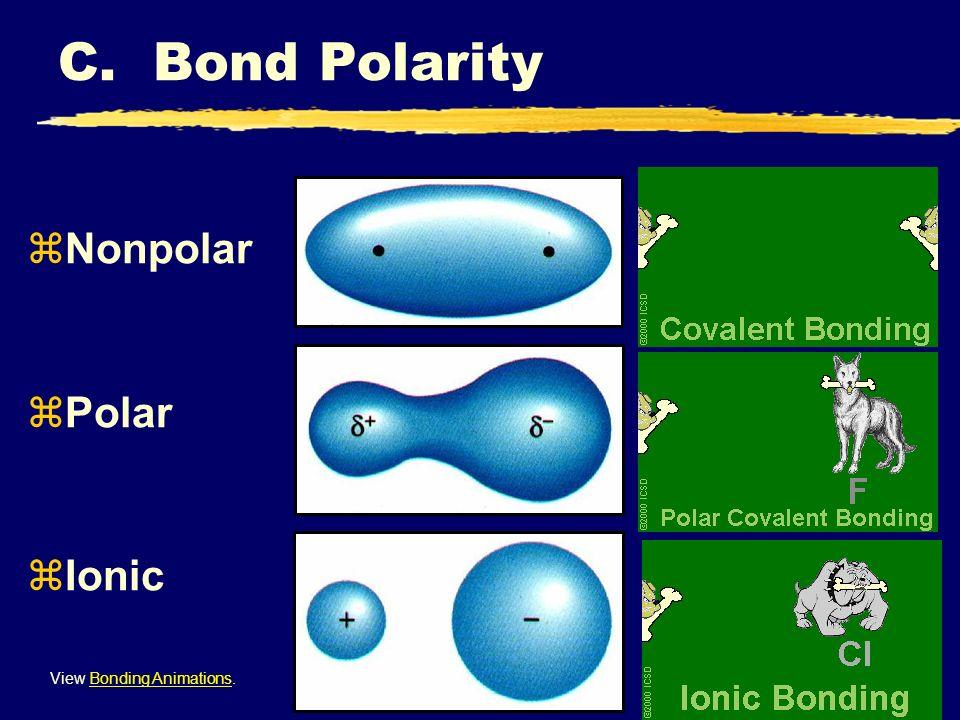 zNonpolar zPolar zIonic View Bonding Animations.Bonding Animations C. Bond Polarity
