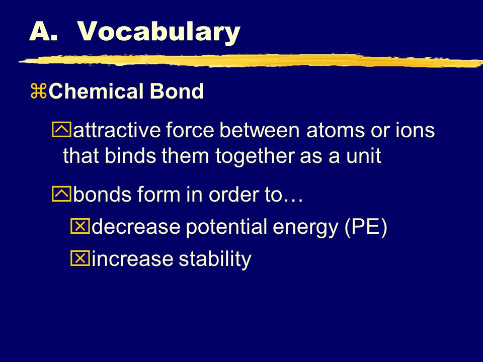 A. Vocabulary zChemical Bond yattractive force between atoms or ions that binds them together as a unit ybonds form in order to… xdecrease potential e
