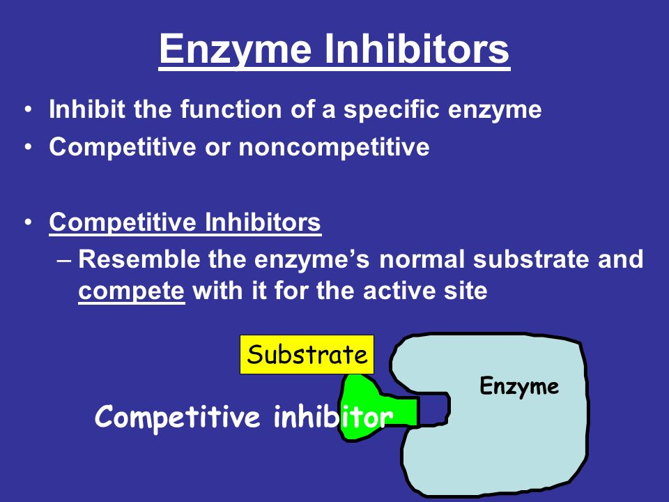 Enzyme Inhibitors Inhibit the function of a specific enzyme Competitive or noncompetitive Competitive Inhibitors –Resemble the enzymes normal substrat