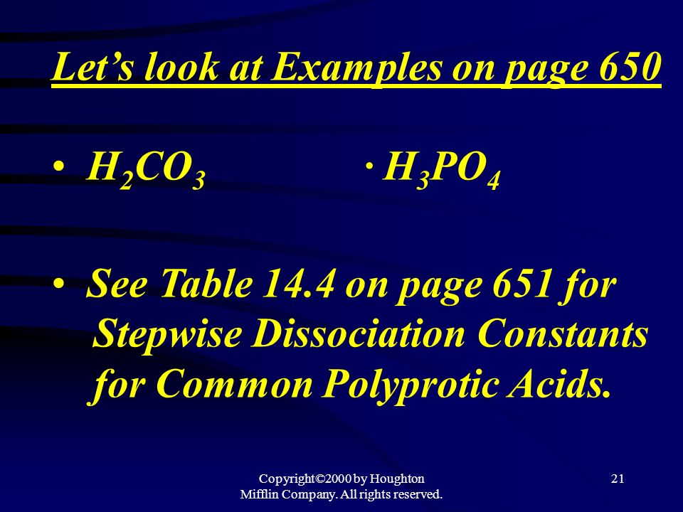 Copyright©2000 by Houghton Mifflin Company. All rights reserved. 20 As protons are lost from polyprotic acids, a negative charge on the acid increases