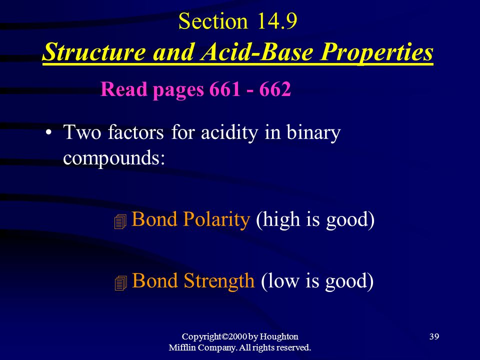 Copyright©2000 by Houghton Mifflin Company. All rights reserved. 38 Acid-Base Properties of Salts See Table 14.6 on page 660