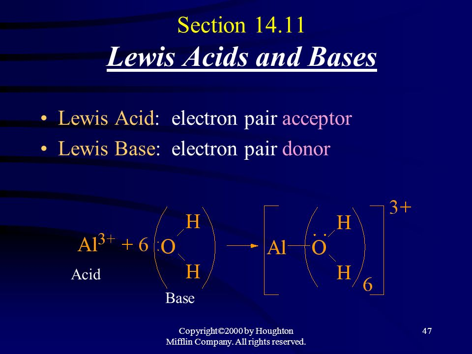 Copyright©2000 by Houghton Mifflin Company. All rights reserved. 46 Oxides Basic Oxides (Basic Anhydrides): O X bond is ionic. 4 Dissolve in water & f