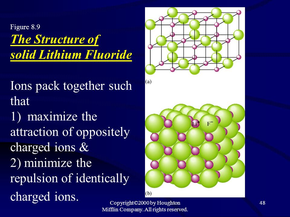 Copyright©2000 by Houghton Mifflin Company. All rights reserved. 48 Figure 8.9 The Structure of solid Lithium Fluoride Ions pack together such that 1)