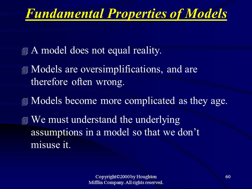 Copyright©2000 by Houghton Mifflin Company. All rights reserved. 60 Fundamental Properties of Models 4 A model does not equal reality. 4 Models are ov