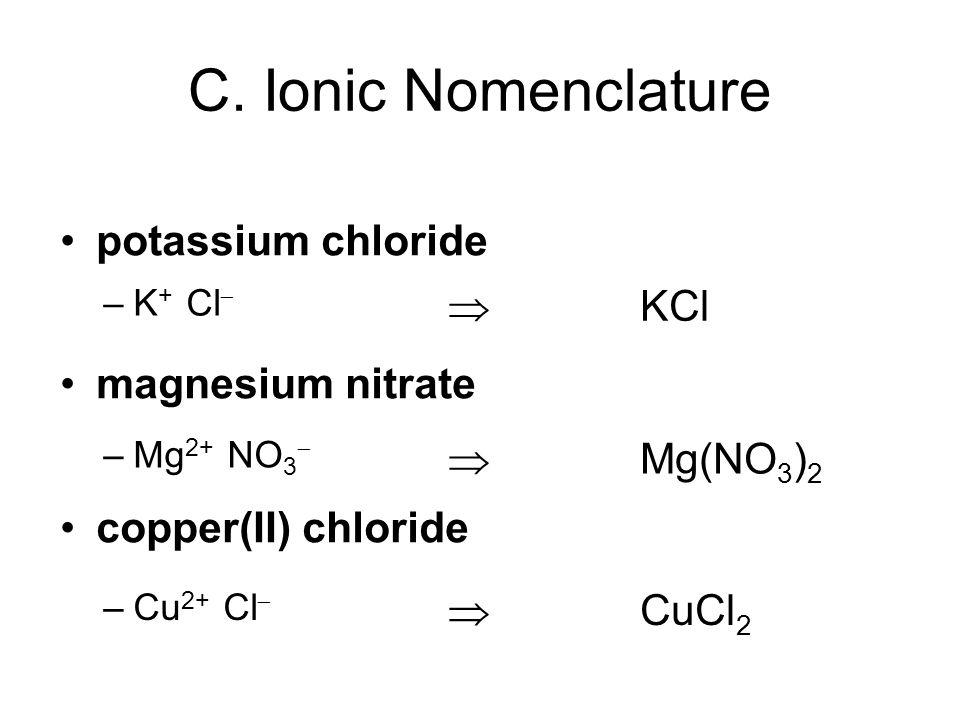 potassium chloride magnesium nitrate copper(II) chloride –K + Cl –Mg 2+ NO 3 –Cu 2+ Cl KCl Mg(NO 3 ) 2 CuCl 2 C. Ionic Nomenclature