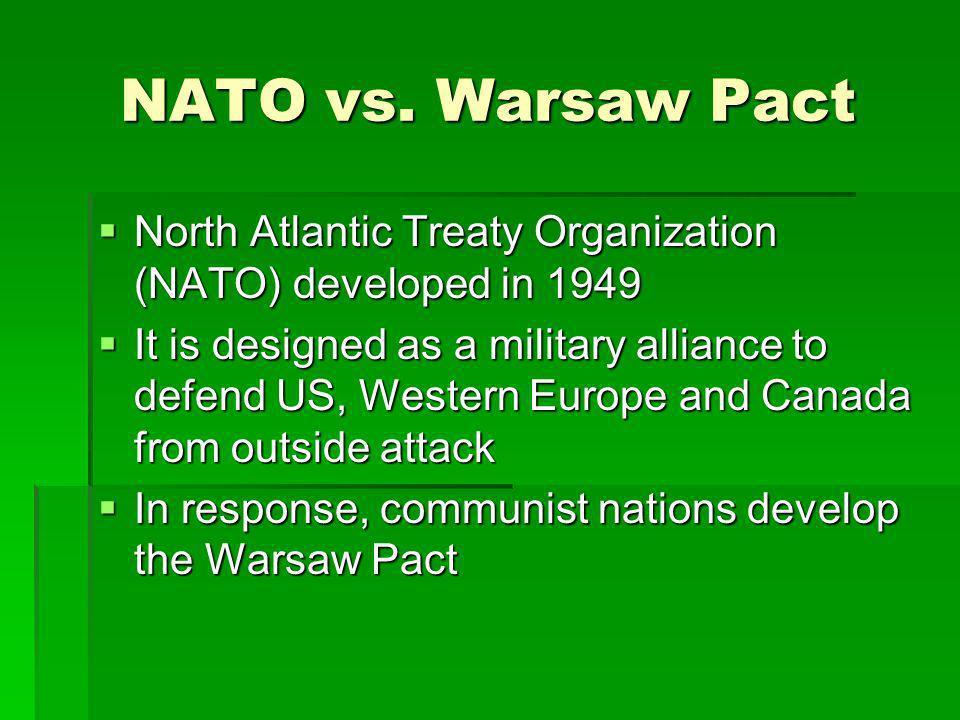 NATO vs. Warsaw Pact North Atlantic Treaty Organization (NATO) developed in 1949 North Atlantic Treaty Organization (NATO) developed in 1949 It is des