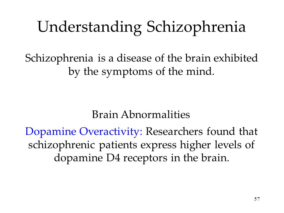 57 Understanding Schizophrenia Schizophrenia is a disease of the brain exhibited by the symptoms of the mind. Dopamine Overactivity: Researchers found