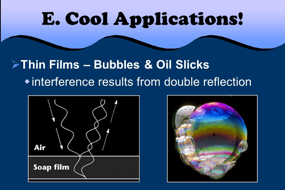 E. Cool Applications! Thin Films – Bubbles & Oil Slicks interference results from double reflection