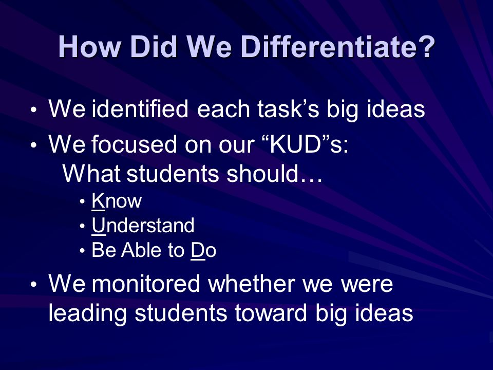 How Did We Differentiate.