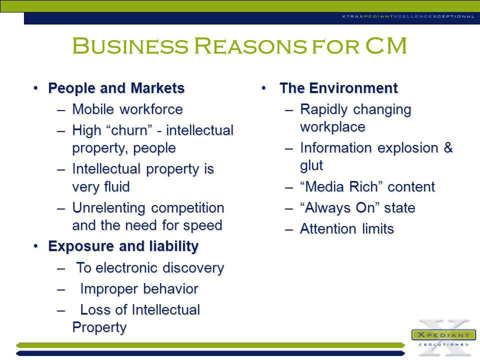 People and MarketsPeople and Markets –Mobile workforce –High churn - intellectual property, people –Intellectual property is very fluid –Unrelenting c