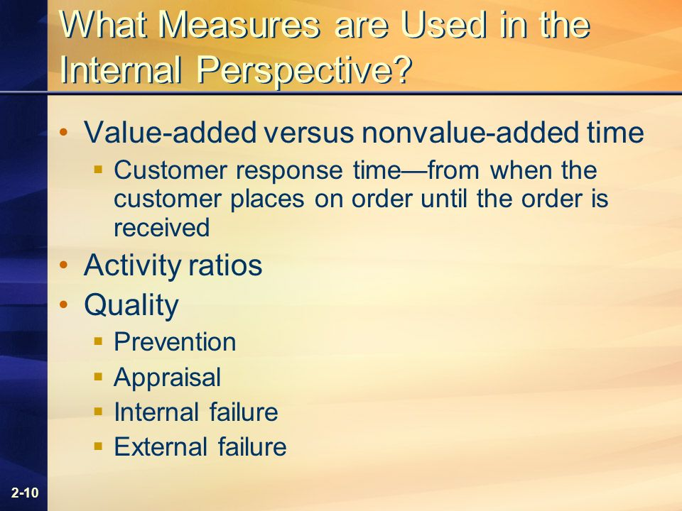 2-10 What Measures are Used in the Internal Perspective.