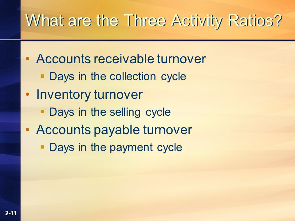 2-11 What are the Three Activity Ratios.