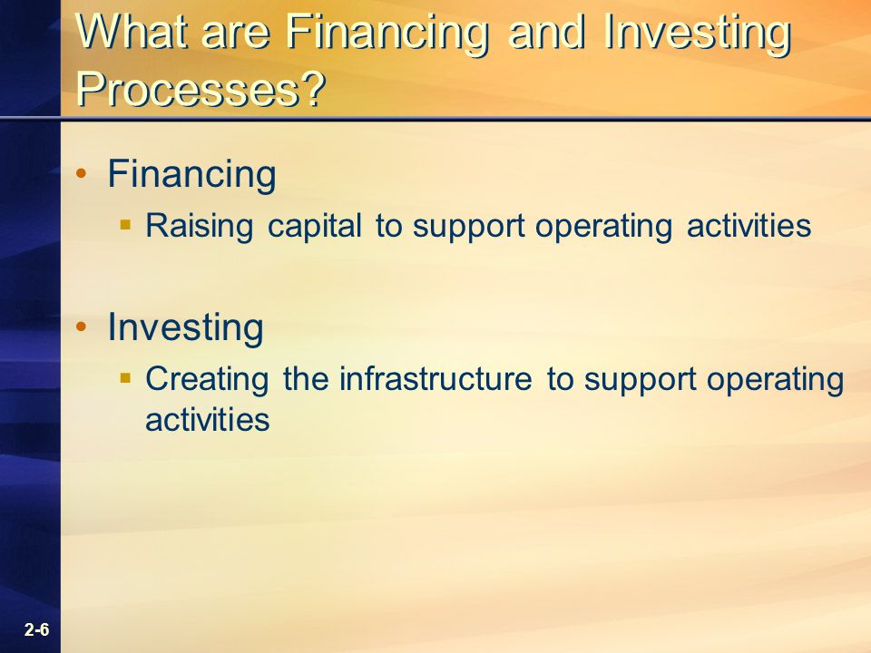 2-6 What are Financing and Investing Processes.