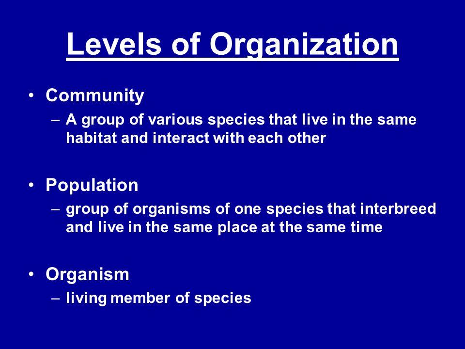 Levels of Organization In a desert…..