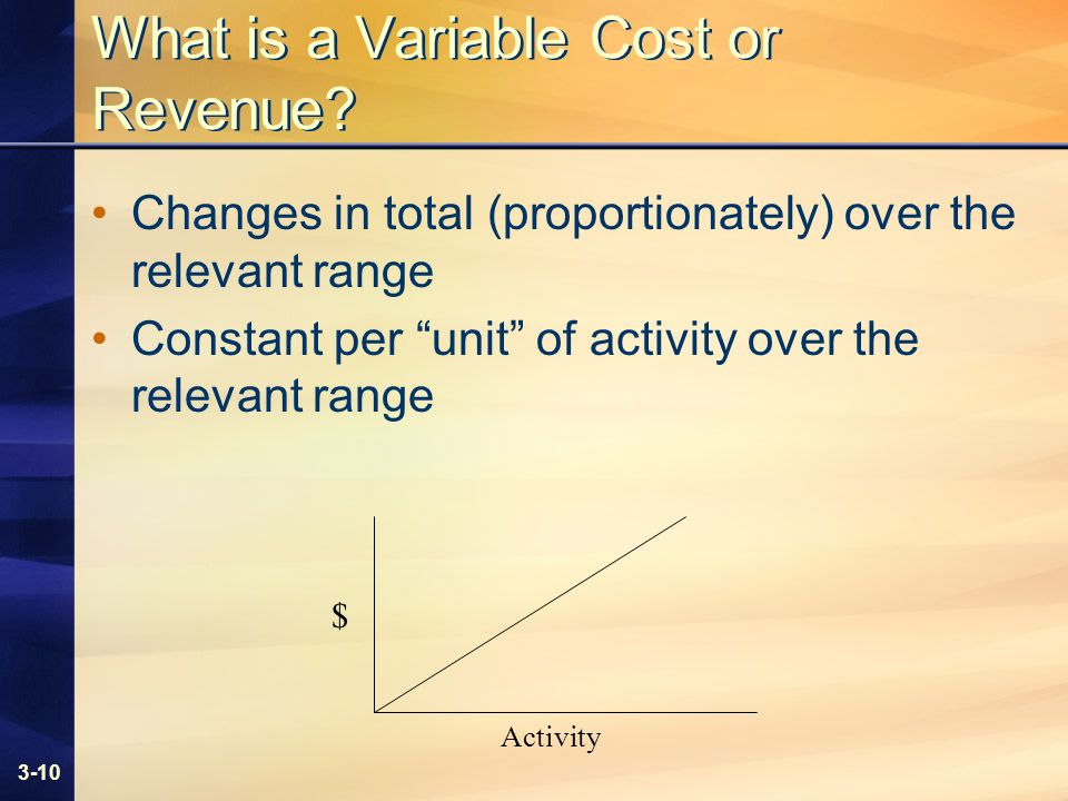 3-10 What is a Variable Cost or Revenue? Changes in total (proportionately) over the relevant range Constant per unit of activity over the relevant ra