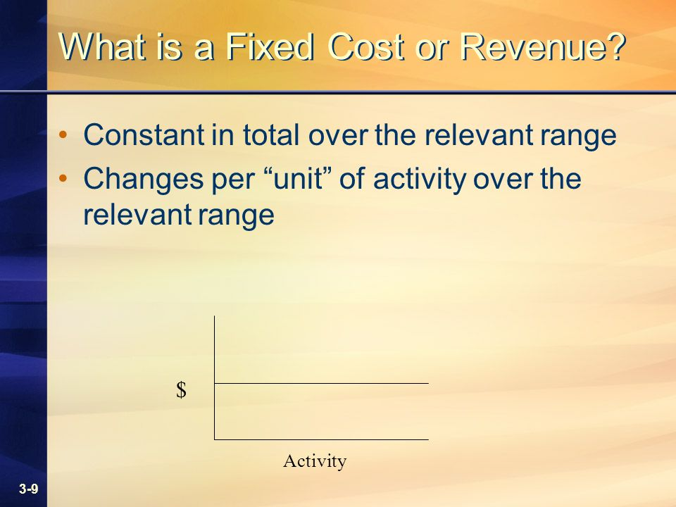 3-9 What is a Fixed Cost or Revenue.