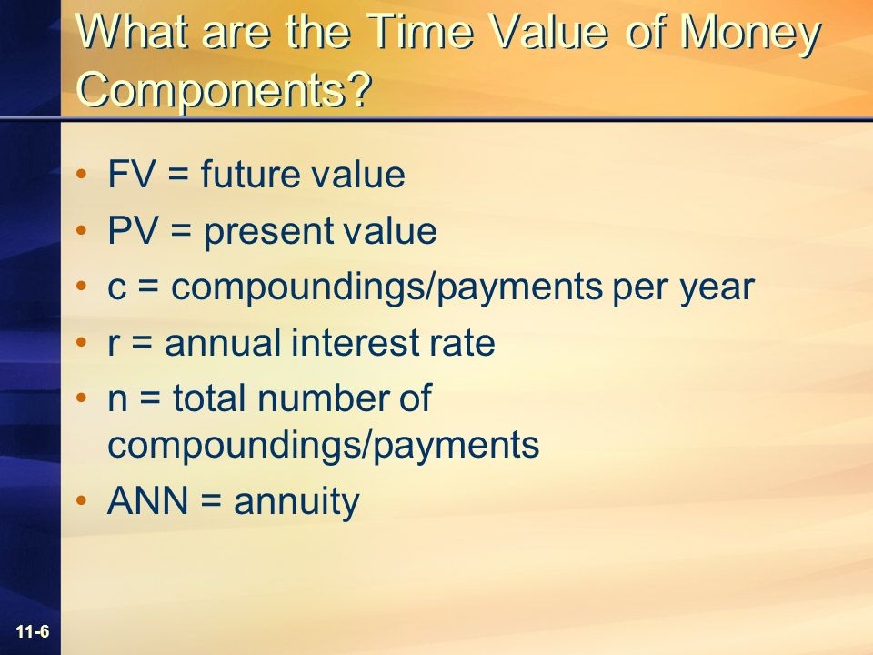 11-6 What are the Time Value of Money Components.