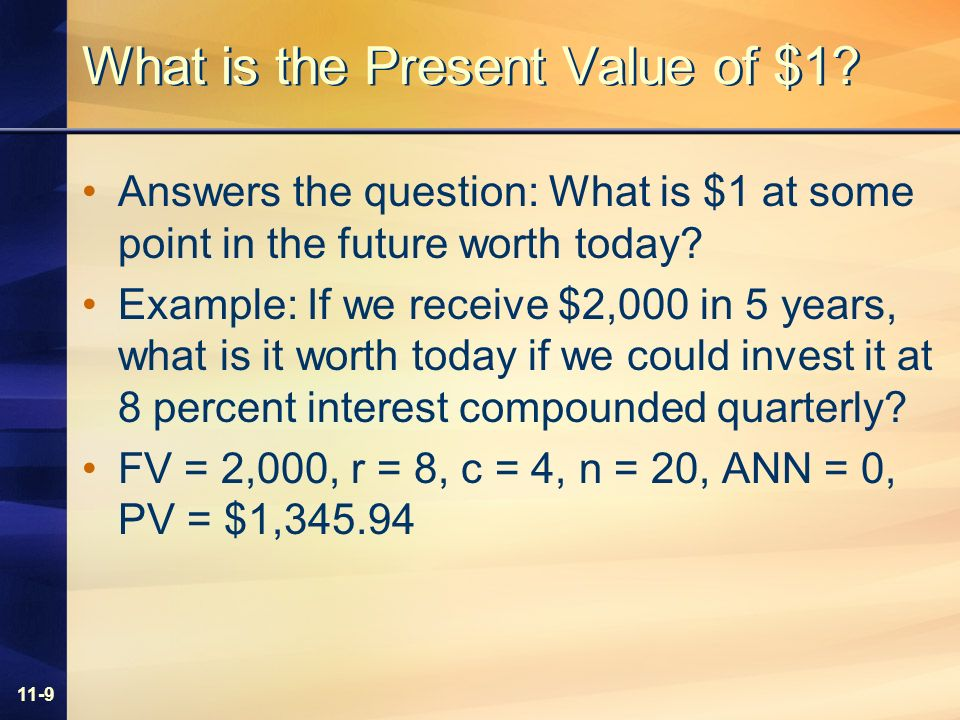 11-9 What is the Present Value of $1.