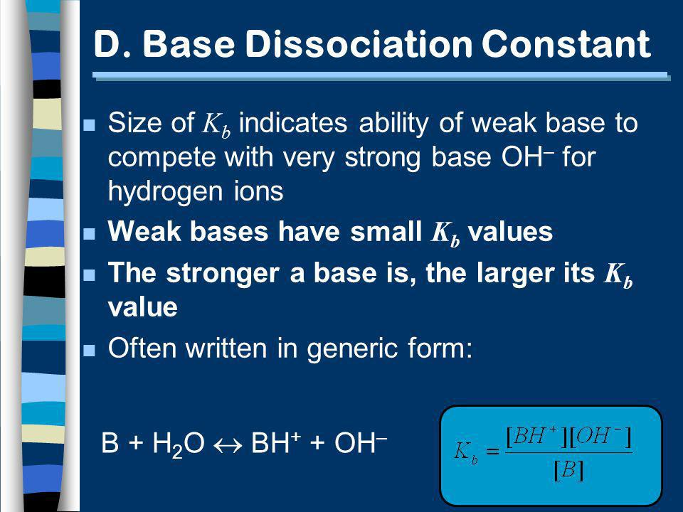 D. Base Dissociation Constant Size of K b indicates ability of weak base to compete with very strong base OH – for hydrogen ions Weak bases have small