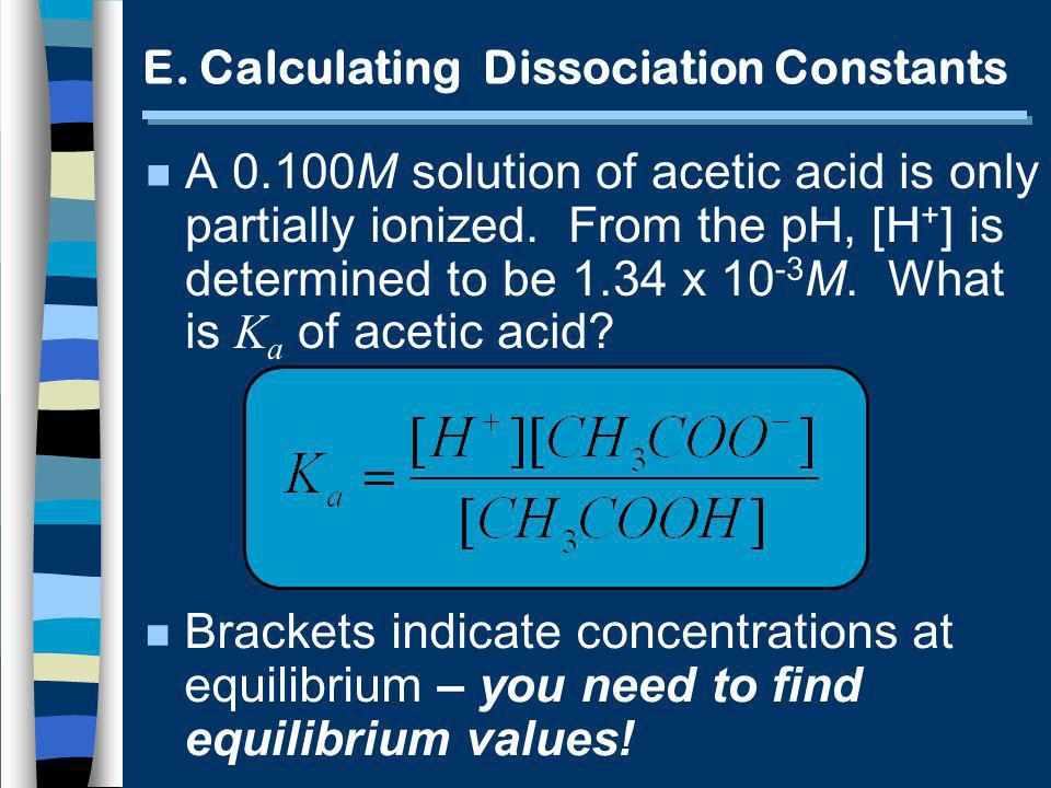 E.Calculating Dissociation Constants A 0.100M solution of acetic acid is only partially ionized.