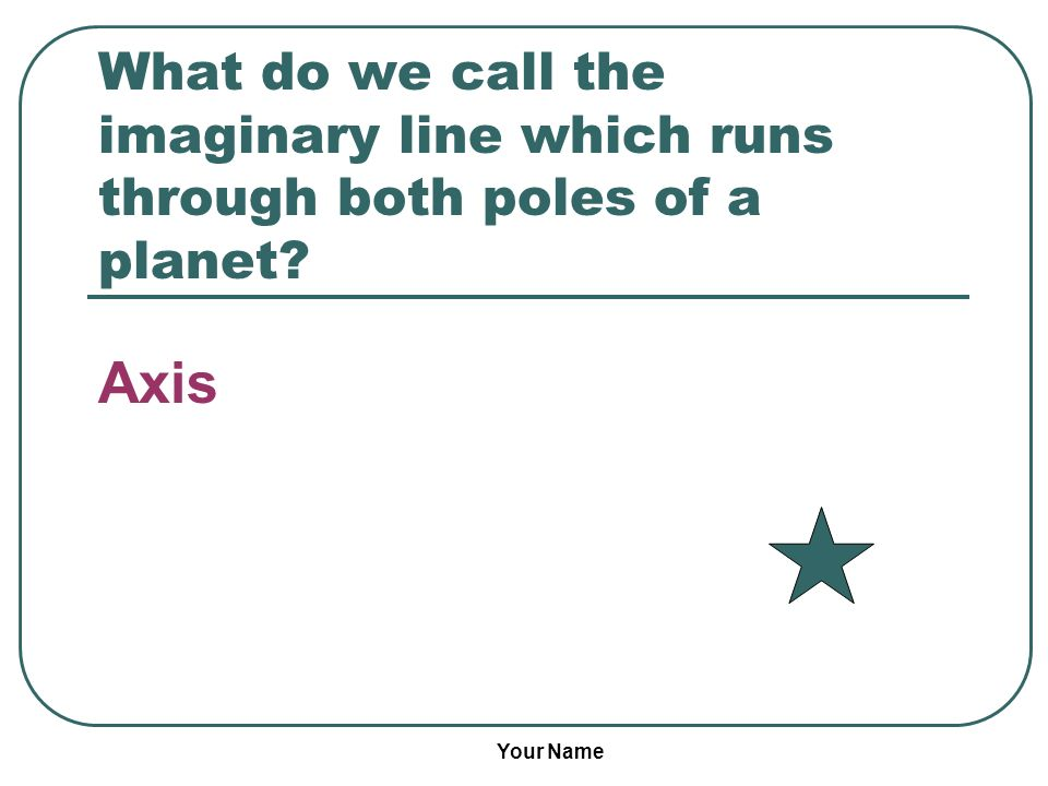 Your Name What do we call the imaginary line which runs through both poles of a planet? Axis