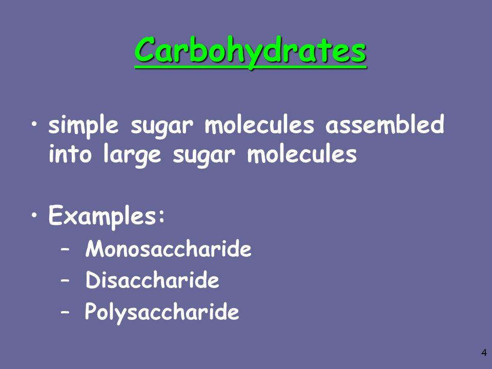 4 Carbohydrates simple sugar molecules assembled into large sugar molecules Examples: –Monosaccharide –Disaccharide –Polysaccharide
