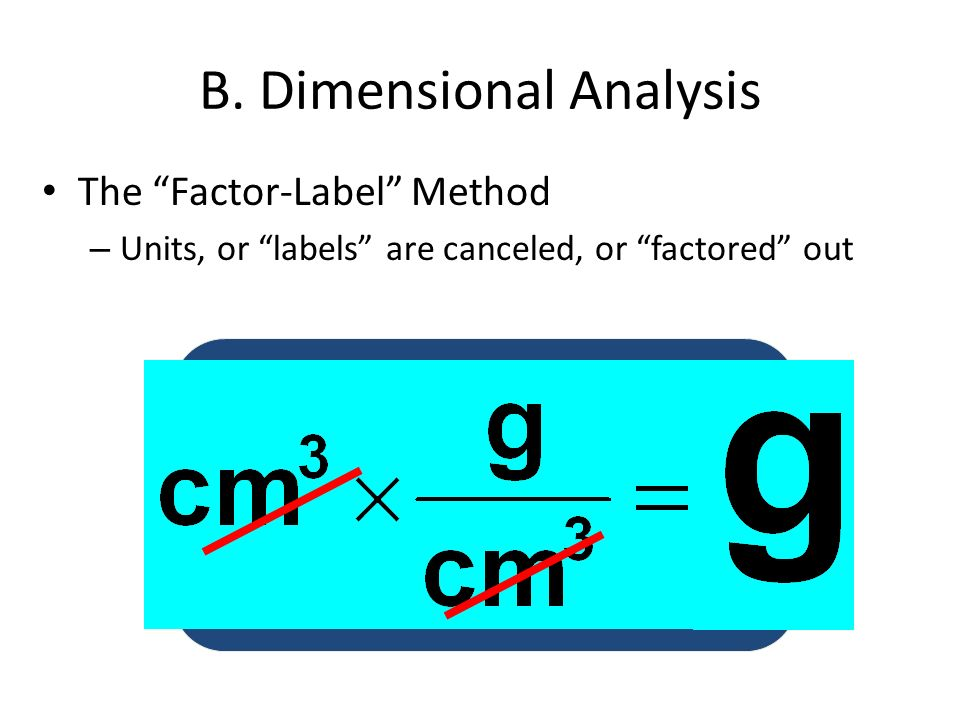 B. Dimensional Analysis The Factor-Label Method – Units, or labels are canceled, or factored out