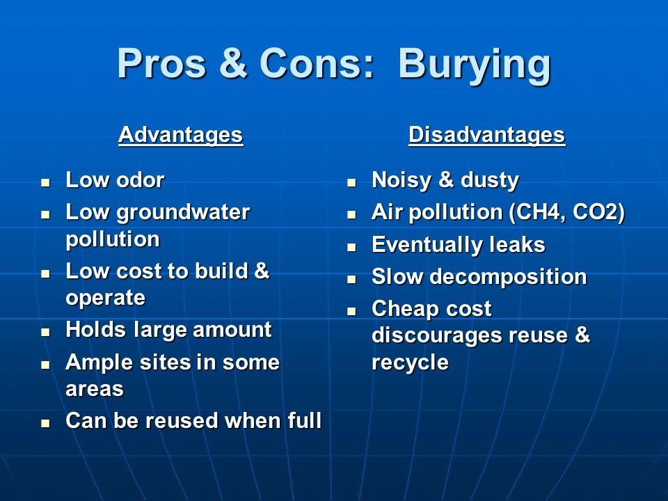Pros & Cons: Burying Advantages Low odor Low odor Low groundwater pollution Low groundwater pollution Low cost to build & operate Low cost to build &