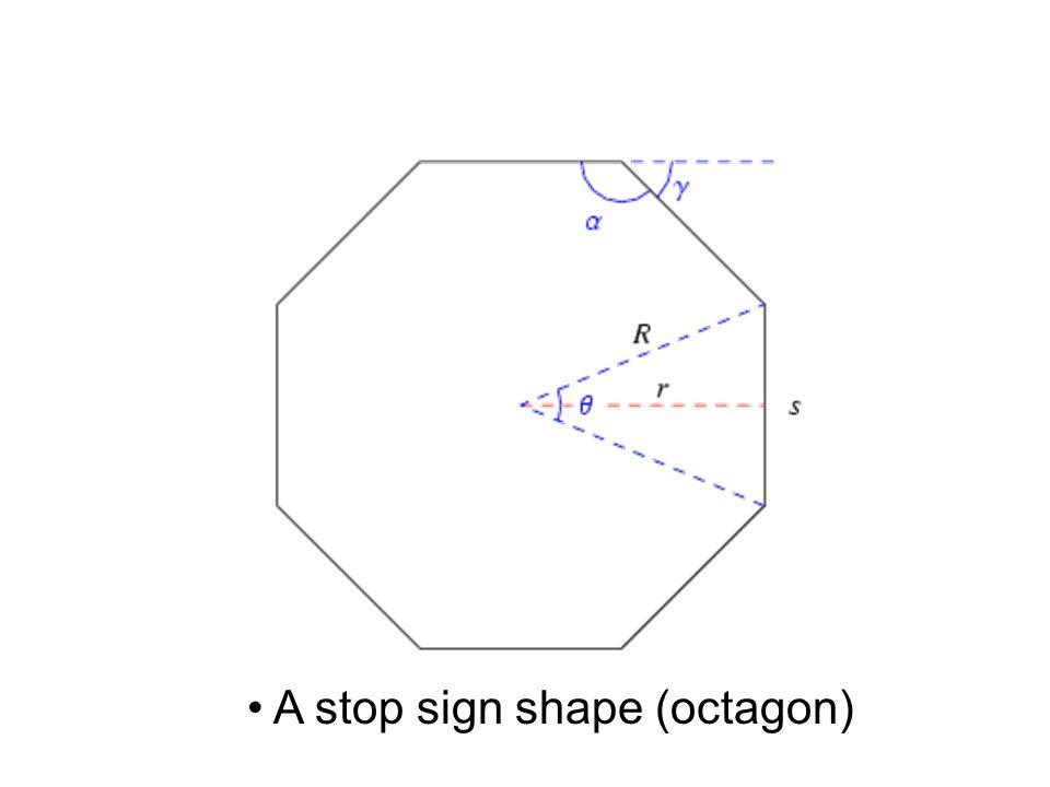A stop sign shape (octagon)
