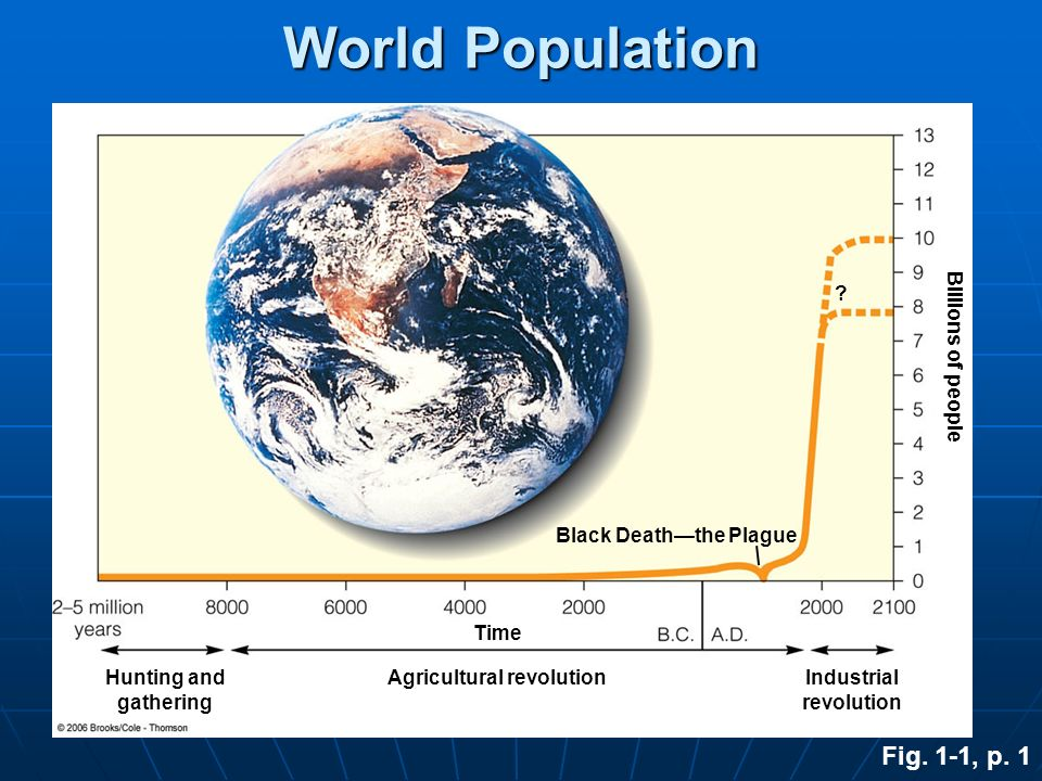 Hunting and gathering Agricultural revolutionIndustrial revolution Black Deaththe Plague World Population ? Time Billions of people