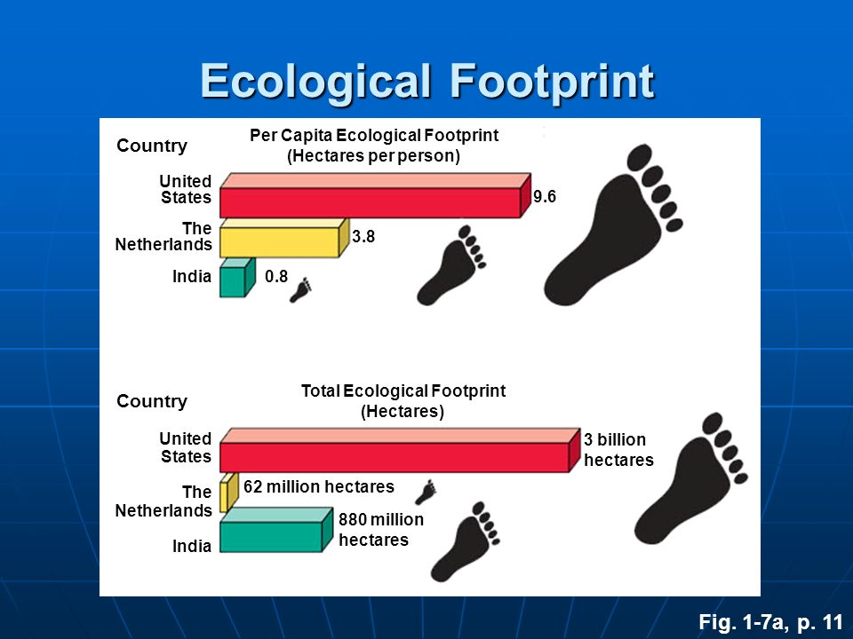Fig. 1-7a, p. 11 Ecological Footprint Country Per Capita Ecological Footprint (Hectares per person) Country Total Ecological Footprint (Hectares) Unit