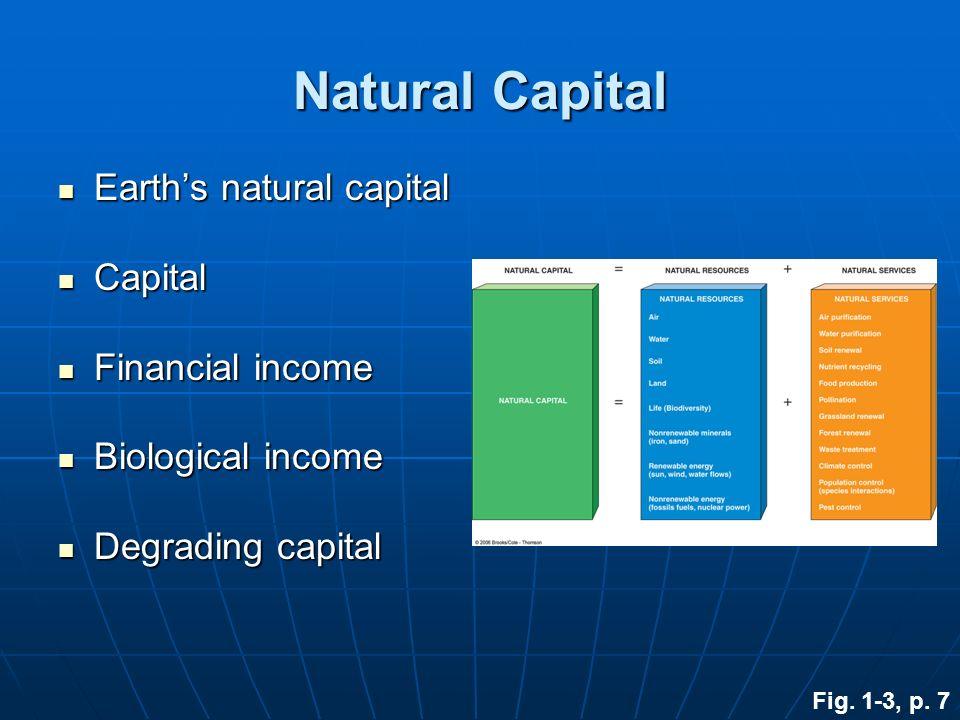 Natural Capital Earths natural capital Earths natural capital Capital Capital Financial income Financial income Biological income Biological income De