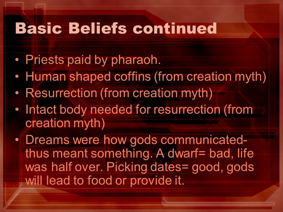 Basic Beliefs continued Priests paid by pharaoh.