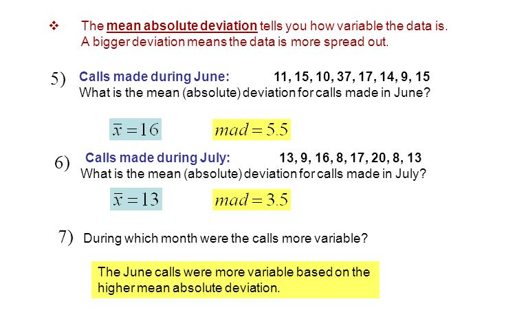 Calls made during June: 11, 15, 10, 37, 17, 14, 9, 15 What is the mean (absolute) deviation for calls made in June? 5) Calls made during July: 13, 9,