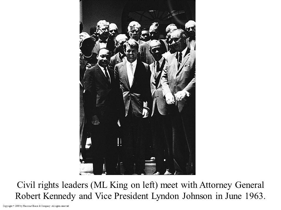 Civil rights leaders (ML King on left) meet with Attorney General Robert Kennedy and Vice President Lyndon Johnson in June 1963.