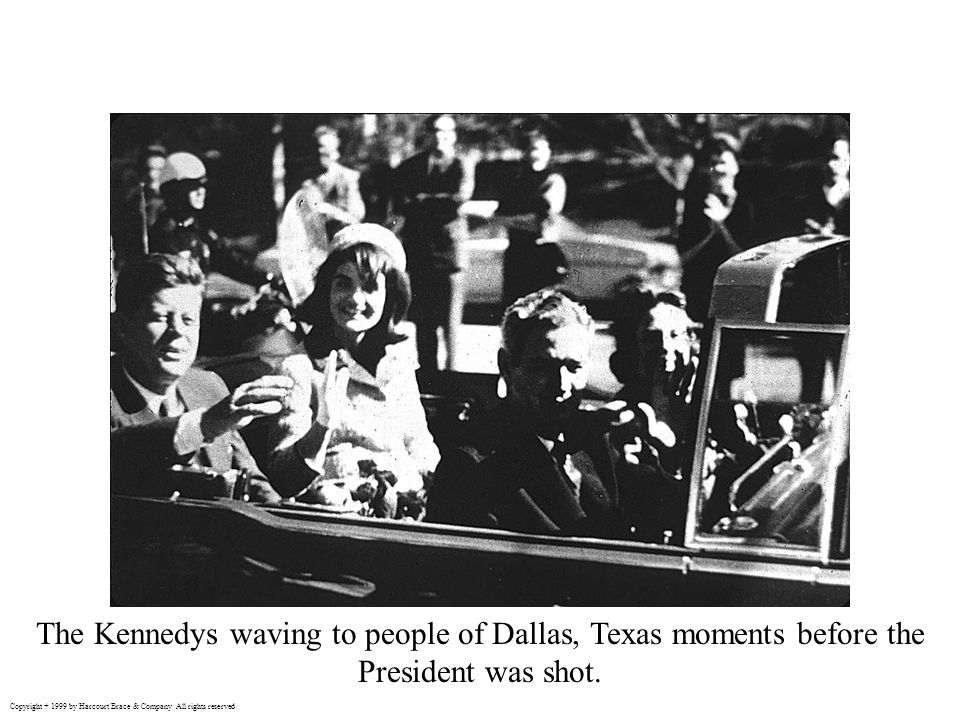 The Kennedys waving to people of Dallas, Texas moments before the President was shot.