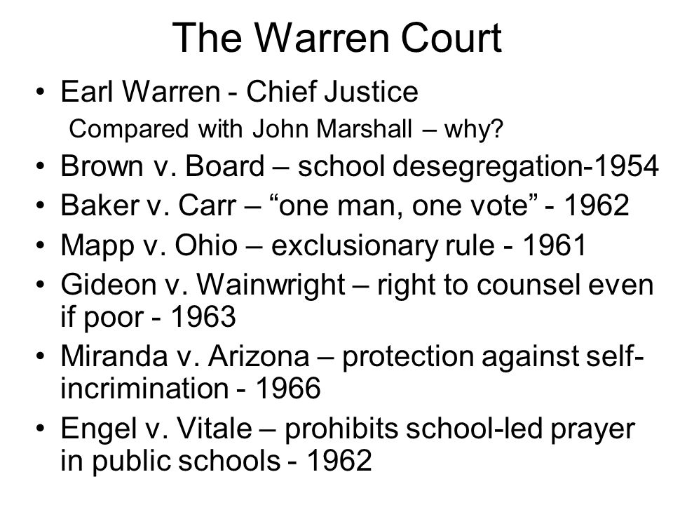 The Warren Court Earl Warren - Chief Justice Compared with John Marshall – why.