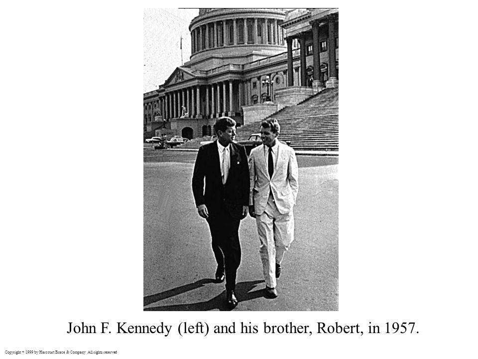 John F. Kennedy (left) and his brother, Robert, in 1957.