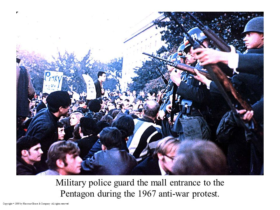 Military police guard the mall entrance to the Pentagon during the 1967 anti-war protest.